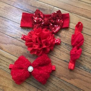 Other - Red valentines theme baby headbands